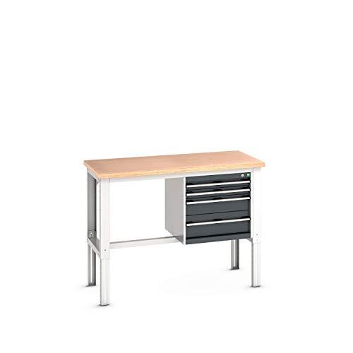 cubio Werkbank mit Hängeschrank, 4 Schubladen, Rotbuche, höhenverstellbar