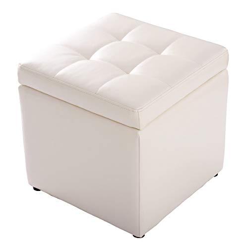 COSTWAY Sitzhocker mit Stauraum, Sitzwürfel aus PU, Sitzbox belastbar bis 300kg, Polsterhocker mit Deckel, Aufbewahrungsbox 40x40x40cm, Sitztruhe Farbwahl (Cremeweiß)