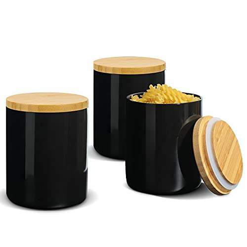 ComSaf Ceramic Food Storage Canisters with Airtight Bamboo Lid (17oz/500ml) Set of 3, Black Food Storage Jar Containers with Seal Wood Lid for Kitchen Pantry Serving Flour, Sugar, Cereal and Snacks