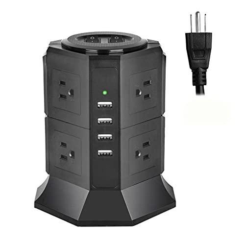 Diaod Torre de la Torre de la Torre de la Torre Vertical 8/12 Way EE. UU. Outlets de Enchufe eléctrico USB Cargo 65FT Cable de extensión para la Oficina en casa (Color : 2 Layers)