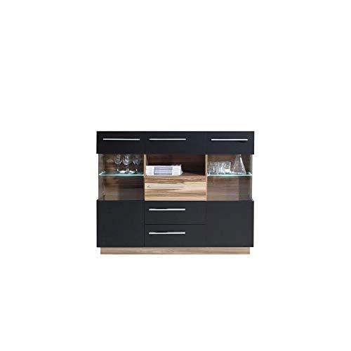 Furniture24 Kommode Monsun MN5 Sideborad Highboard 2 Türiger mit 4 Schubladen Anrichte (Nußbaum Baltimore/Schwarz Matt)