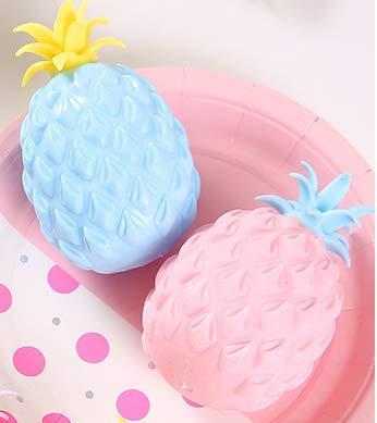 ZoneYan 2 Piezas Bola Antiestrés de Piña, Squishy Piña, Sensory Fidget Toy, Squeeze Ball, Juguetes de Descompresión, Bolas de Estrés, Rosado, Azul, Aliviar la Ansiedad, para Niños y Adultos