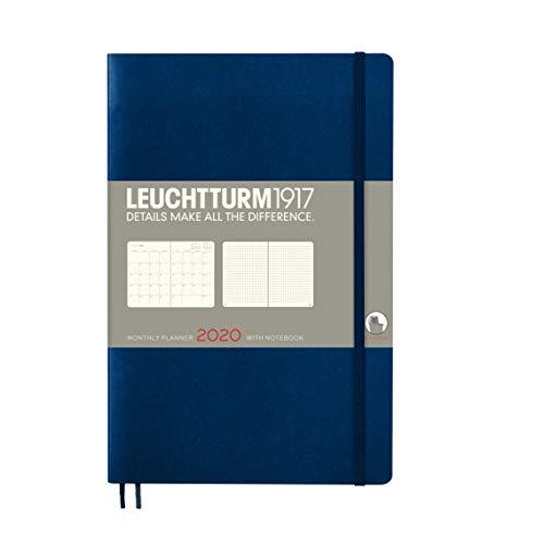 LEUCHTTURM1917 360050 Monatsplaner mit Notizbuch Softcover Paperback (B6+) 2020, Marine, Englisch