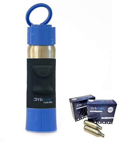 Drinkmate instaFizz Bundle- Portable Sparkling Water and Soda Maker Bottle, Carbonate ANY Drink On the Go - Includes 21oz Stainless Steel, Eco-Friendly Bottle, Twenty 8g CO2 Chargers, Black Pocket Sleeve - Blue