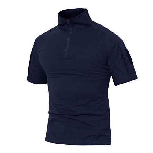 MAGCOMSEN Herren Militär Shirt Taktisch Combat Hemd für Männer US Army T-Shirt Quick Dry Shirt Outdoor Funktionsshirt mit Taschen Dunkelblau L (Etikett: 2XL)