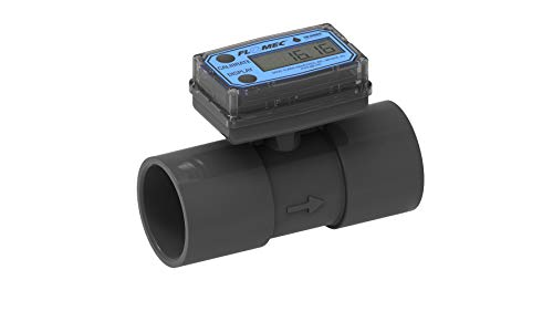 FLOMEC TM200, PVC Turbine Flowmeter for Use with Water & Mild Chemicals, 2-Inch Spigot Fitting, 20-200 GPM, LCD Display, +/-3 Percent Accuracy, Durable Schedule 80 PVC