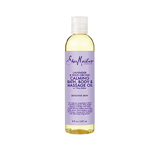 SheaMoisture Bath, Body & Massage Lotion & Oil Moisturizer for Sensitive Skin Lavender Wild Orchid Shea Butter 8 oz