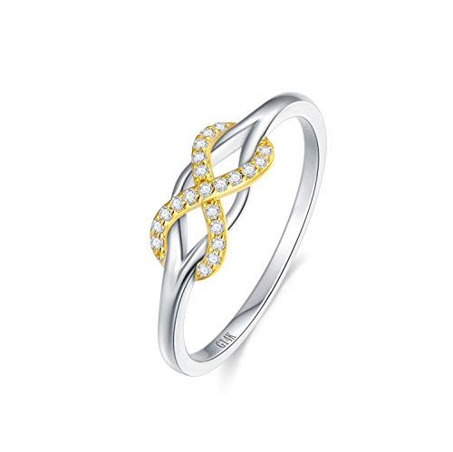 SISGEM Infinite Love Band Ring,14K Solid Gold Celtic Love Knot Symbol Diamond Ring Forever Endless Promise Ring-Valentines Day Anniversary Wedding Engagement Band for Women Girls (White-Yellow, 7)