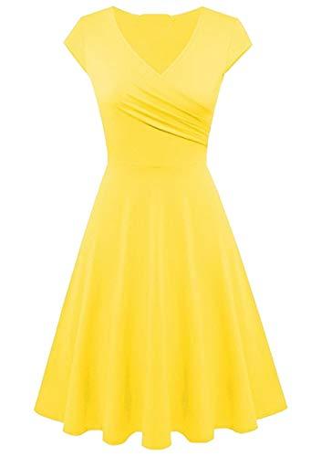 Yming Frauen Elegant Sommerkleider Knielang Kleid Einfarbig Kleid Skater Kleid Gelb S