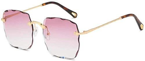 NIUASH Gafas de Sol polarizadas Lentes Rojas Gafas cuadradas sin Montura Gafas de Sol de Lujo para Mujer Trend Wave Corte Cristal Gafas Femeninas Gafas de Sol cuadradas de Moda-Gradient_Purple_Pink