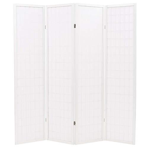 Vislone Plegable Biombos Diseño 4-Panel de Estilo Japonés Biombo Divisor Separador de Habitaciones Espacios Divisoria 160x170cm Blanco