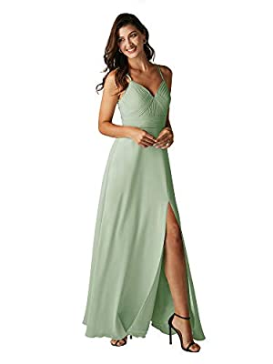 ALICEPUB Double Straps Sage Green Bridesmaid Dresses for Women Chiffon Long Formal Party Dress with Slit, US6