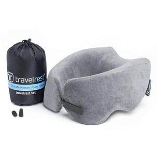 Travelrest NEST Patented Ultimate Memory Foam Travel Pillow/Neck Pillow - Washable Cover - Voted Best Travel Pillow for 2018-2020 by Wirecutter - Compresses to 1/4 of its Size (2 Year Warranty)(Grey)