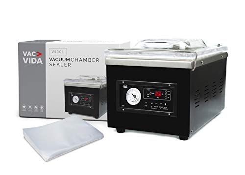 VAC-VIDA VS301 Chamber Vacuum Sealer | Constructed With A Sleek Black Stainless Steel Outside | Modern Control Panel | Extra Powerful Oil Pump | 100 Bags Included | Perfect For Serious Home User Or Restaurant