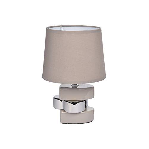 Homea Design Keramik Tischlampe 24,5cm Tischleuchte taupe