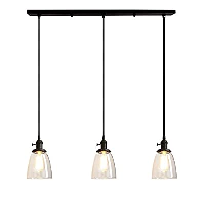 Pathson Industrial 3-Light Pendant Lighting Kitchen Island Hanging Lamps with Oval Clear Glass Shade Chandelier Ceiling Light Fixture