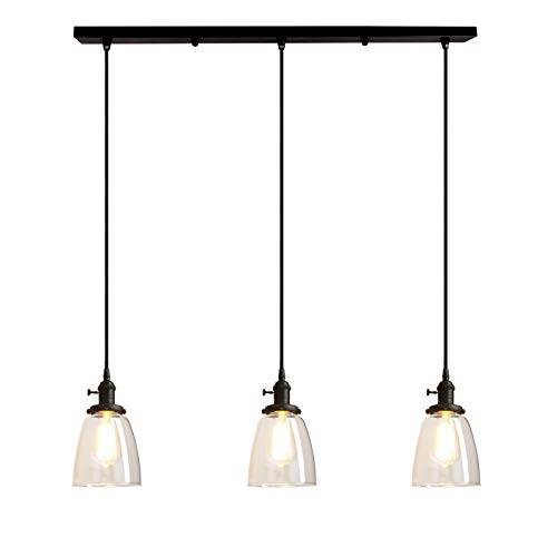 Pathson Industrial 3-Light Pendant Lighting Kitchen Island Hanging Lamps with Oval Clear Glass Shade Chandelier Ceiling Light Fixture (Black)