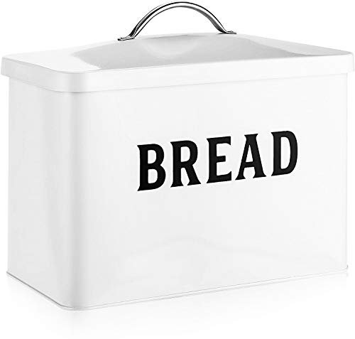 Bread Box - Fully Metal Modern Farmhouse Style Bread Tin - White with Black Letters Storage Holder - Holds 2+ Loaves Extra Large Vintage Bread Container