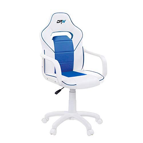 DRW, Silla Gamer, Silla de Oficina Gaming Estudio o Escritorio, Acabado en Símil Piel Blanco y Azul, Medidas: 60 cm (Ancho) x 60 cm (Fondo) x 98-108 cm (Alto)