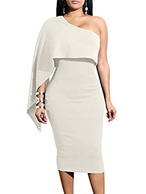 GOBLES Women's Summer Sexy One Shoulder Ruffle Bodycon Midi Cocktail Dress White