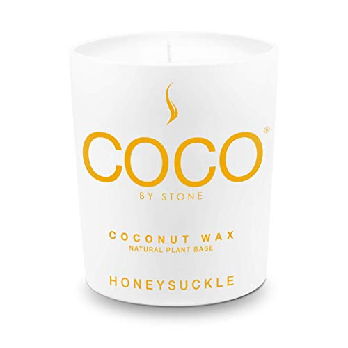 Stone Candle, Coco by Stone All Natural Coconut Wax Candle Honeysuckle 11oz