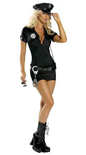 Nachtwäsche & Bademäntel Für Damenpolizei Kostüm Polizistin Ausbilder Uniform Cosplay Uniform Versuchung Halloween Kostüm Erotik Dessous-Schwarz_M