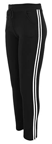 sockenhimmel Sweathose Damen warme Sporthose Jogginghose mit Streifen Damenhose Polarfleece gefüttert (Schwarz, 36-38)