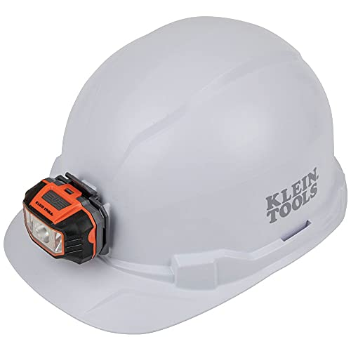Klein Tools 60107 Hard Hat, Light, Non-Vented Cap Style, Padded, Self-Wicking Odor-Resistant Sweatband, Tested up to 20kV, White