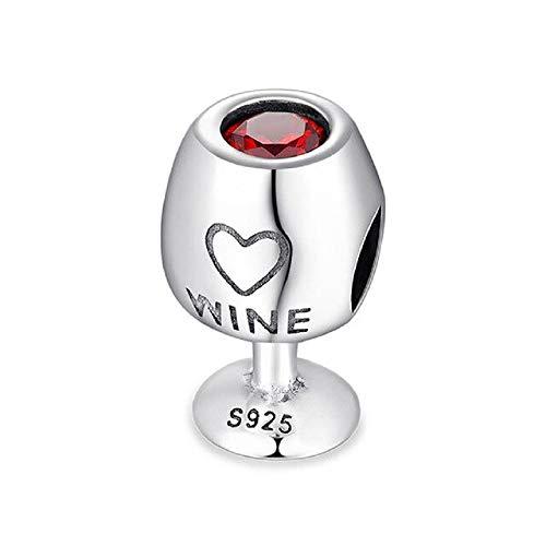 Desconocido JCaleydo - Amante de Vino Plata de Ley 925 con *Caja Regalo* Compatible con Pulsera Pandora