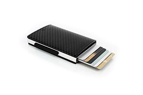 ÖGON Smart Wallets - Porta Carte Cascade Wallet - Protezione RFID: Protegge Le Tue Carte Contro Le Frodi - Alluminio Anodizzato (Carbon)