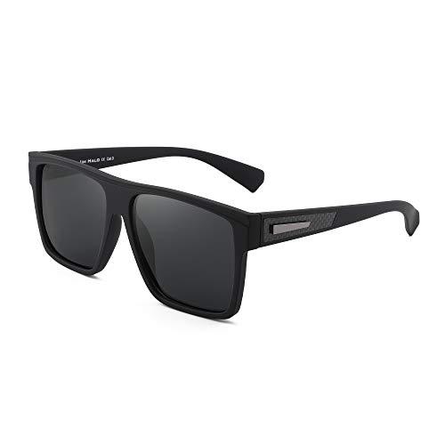 JIM HALO Gafas de sol retro polarizadas para hombres y mujeres Gafas de conducción cuadradas con parte superior plana (Marco negro mate/Lente gris polarizada)