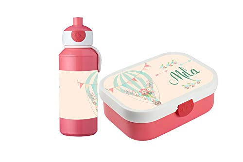 wolga-kreativ Brotdose Obsteinsatz Bento Box und Trinkflasche auslaufsicher BPA frei für Kinder Rosti Mepal für Mädchen Luftballon personalisiert mit Namen Lunchbox Brotbox mit Fächern