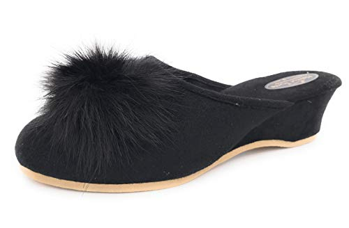 Damen Pantolette schwarz mit Pelzpompon Hausschuhe Trunte Schuhe, EU 37