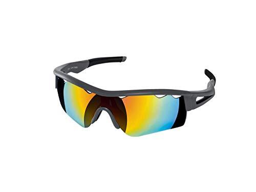 Crivit Sportbrille Bruchsicher 100% UV Schutz + Zubehör Anthrazit Matt