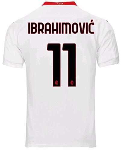 Men's Sportswear 2020/2021 Season Away Soccer T-Shirts Jersey/Short (AC Milan Ibrahimovic #11 (2XL)) White