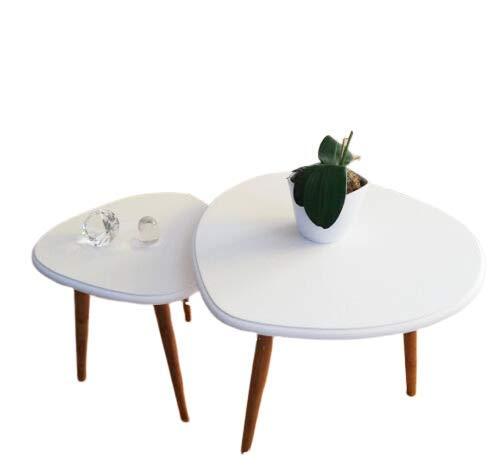 Milanino 2er Set Beistelltisch in Weißer Couchtisch Holz - Ideal geeignet als Wohnzimmertisch, Büro, Praxen, Events - Runder Seitentisch, Skandinavischer Couchtisch aus Holz