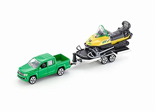 Siku-2548 Pick-up con motoslitta, 1:55, Metallo/Plastica, Verde/Giallo, Rimorchio Ribaltabile, Colore, 2548