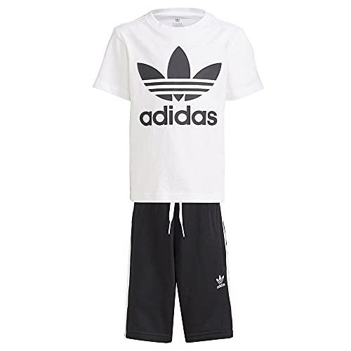 adidas FI8318 Short Tee Set Body Unisex - Bambini Top:White/Black Bottom:Black/White 2-3A