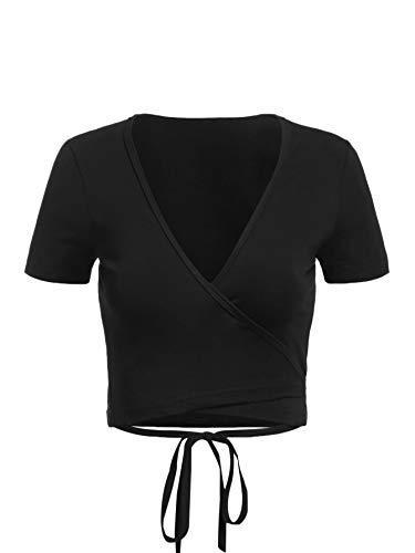 DIDK Damen Crop Tops Oberteile Bauchfrei T-Shirts V Ausschnitt Shirt Sommershirts Sexy Kurzarm Top Einfarbig Casual Kurz Shirts Wickelshirt Schwarz S