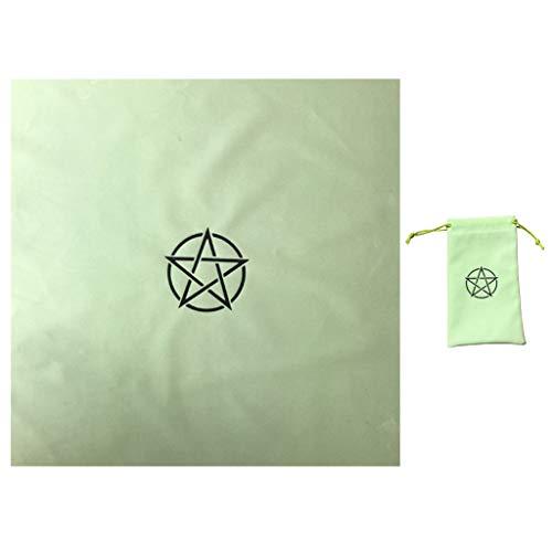 PTMD Pentagramme Tarots Tischdecke mit Tasche Samt Altar Tarots Tuch Wahrsagung Astrologie Brettspiel Pentakel Vintage Karte Block