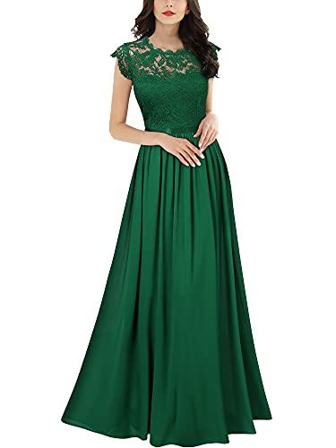 Miusol Women's Formal Floral Lace Evening Party Maxi Dress (Medium, Dark Green)