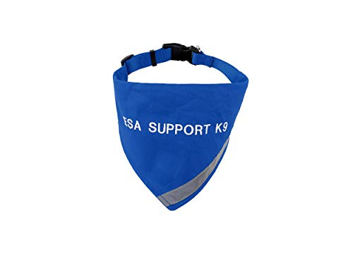 ESA Bandana with Reflective Strip for Dogs Safety at Night. Has Built in Matching Collar to Keep ESA Dog tag Secure | Metal Ring to Attach Leash | Four Colors (XS to Large) (Neck 14-20', Blue)