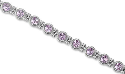 Pulsera magnética de titanio para mujer, diseño de cristales de Swarovski