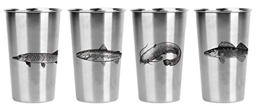 Freshwater Fish (SET OF 4) Stainless Pint Cups - Great gift for fishermen, sportsmen, travelers, campers, dad, men, moms, guys, and boyfriends - Very Durable!