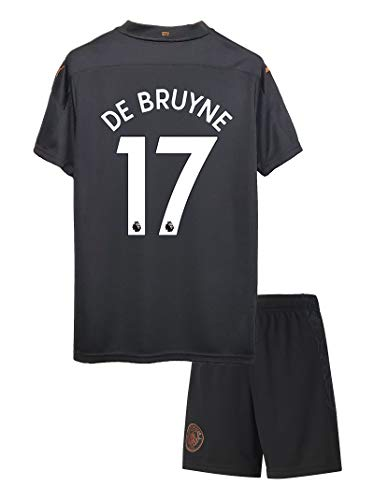 NHMao #17 DE Bruyne 2020/2021 New Season Manchester Kids/Youths Away Soccer T-Shirts Jersey & Shorts Color Black Size 8-9Years