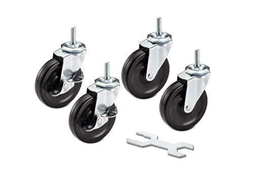 TRINITY ZSV-99-018-4010 Caster Wheels Kit for Wire Shelving, 4 x 1', Black