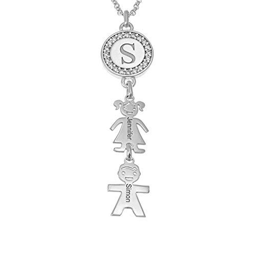Collar con nombre grabado Collar familiar Collar con nombre personalizado Disco y colgante para niños Collar de mujer(Plata 22)