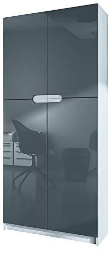 Vladon Büroschrank Aktenschrank Büromöbel Logan, Korpus in Weiß matt/Fronten in Grau Hochglanz