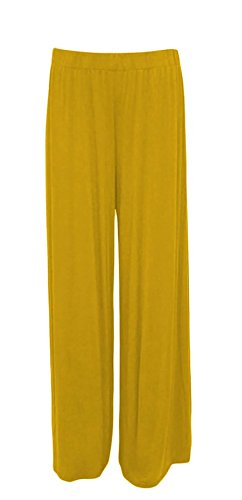 MA ONLINE Damen Hose, Einfarbig Gelb * One Size Gr. 42/44 DE XL, senffarben