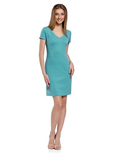 oodji Collection Damen Kleid aus Strukturiertem Stoff mit V-Ausschnitt, Türkis, DE 34 / EU 36 / XS